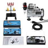 3 Airbrush & Compressor Kit Dual-Action Spray Air Brush Set Tattoo Nail Art Paint