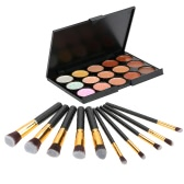 Anself Cosmetic Set Make Up Kit 15 couleurs Make Up Cream Camouflage Facial Concealer Make Up Palette 10pcs pinceau de maquillage pour Cosmetic Powder Foundation