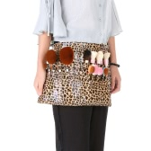 Leopard Cosmetic Makeup Brush PU Apron Bag with Artist Belt Strap
