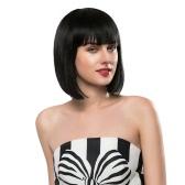 Real Human Hair Wigs Woman Short Straight Hair Girl Black Hairpiece Hair Extension Cosplay Hair Hairdressing Tool