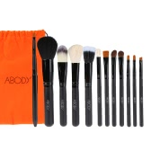 Abody 12Pcs Professional Makeup Brush Set Powder Brush Wooden Handle Essential Cosmetic Kit Eyeshadow Brushes Black
