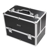 Abody Aluminum Makeup Train Case Cosmetic Organizer Lockable 6 Extendable Trays Box for Jewelry Nail Art Tools Black