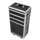 Abody Rolling Cosmetic Train Case Organizer Extendable Makeup Case With Trays Locking Makeup Storage Box Black