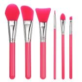 6pcs Silicone Makeup Brush Set Facial Mask Foundation Brushes Cosmetic Eyeshadow Eyebrow Brush Kit With Plastic Handle Green