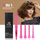 Professional Hair Curler Roller 5 in 1 Functions Cylindrical 5 Curling Irons Wand Set Rechargeable Perm Hair Curling Instrument Pink EU Plug