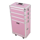 Abody Rolling Cosmetic Train Case Organizer Extendable Makeup Case With Trays Locking Makeup Storage Box Pink