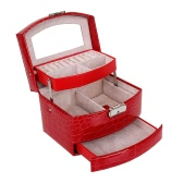 Portable Handheld Fashion High Grade PU Leather Jewelry Box 3 Layers Holder Automatic Storage Case Watch Necklace Ring Earring Accessories Display Drawer With Makeup Mirror Inside