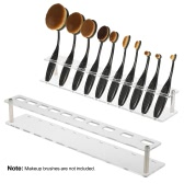 Oval Brush Holder 10 Lattices Makeup Brush Drying Rack Cosmetic Toothbrush Shelf Brush Storage Organizer Stand Acrylic Red