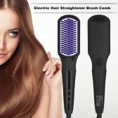 Digital Electric Hair Straightener Brush Comb Glossy Hair Straightening Hair Brush 80-230° Heat Anti-static and Anti-scald US Plug