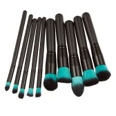 Professional 10pcs Makeup Brush Set Powder Foundation Brush Cosmetic Tools Blue Black