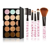 Makeup Brush Set Eyebrow Brush Blusher Brush 15 Color Cream Camouflage Concealers Palette Eye Face Cosmetic Makeup Earth Tone