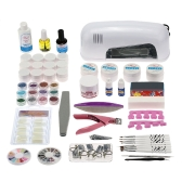 Professional Nail Art Manicure Kits Decoration 9W Lamp UV Gel Tool Brush Remover Nail Tips Glue Acrylic Kits DIY Set