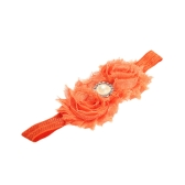 9 Colors Baby Headband Lovely Colorful Twin Flower Girl Hair Band Pearl Rhinestone Headwear Fuzzy Border Orange