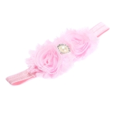 9 Colors Baby Headband Lovely Colorful Twin Flower Girl Hair Band Pearl Rhinestone Headwear Fuzzy BorderPink