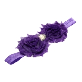 9 Colors Baby Headband Lovely Colorful Twin Flower Girl Hair Band Pearl Rhinestone Headwear Fuzzy BorderPurple