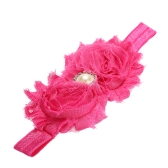 9 Colors Baby Headband Lovely Colorful Twin Flower Girl Hair Band Pearl Rhinestone Headwear Fuzzy Border Rose