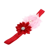 7 Colors Baby Headband Colorful Kids Girls Headband Toddler Infant Lace Ribbon Flower Hair Bow Elastic Band  Red