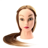 "27"" Female Dummy Head Long Hair Hairdressing Training Head Model with Clamp Golden Yellow"