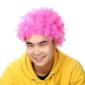 Afro Wig Pink Fancy Dress Curly Men Ladies Clown Hair Disco Football Supporter