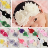 28Pcs Lovely Colorful Twin Flower Baby Girl Hair Band Pearl Rhinestone Headwear Fuzzy Border