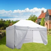 Folding Tent PLITECH QUALITY Folding Marquee Gazebo 40mm Aluminium Structure + 4 Sides Waterproof Tarpaulins in PVC Coated Polyester 300g/m² 3x4.5m for Professional and Individual Needs for Regular Use White - Only Shipping to France