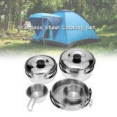 Outdoor Camping Hiking Cookware Backpacking Cooking Picnic Bowl Pot Pan Set Stainless Steel Cook Set