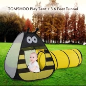 TOMSHOO Portable Children Kids Bee Play Tent Outdoor Garden Folding Toy Tent Pop Up Baby Outdoor House + 3.6 Feet Tunnel