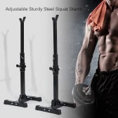 TOMSHOO Pair of Adjustable Rack Standard Sturdy Steel Squat Stands Bench Press Stand Barbell Racks Holder Home Gym Fitness Exercise Equipment