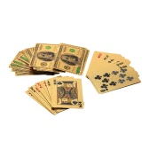 Pure 24K Carat Gold Foil Plated Poker Playing Cards Deck 52 Cards and 2 Jokers Table Games with Certificate