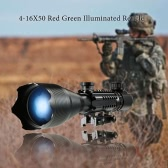 Riflescope 4-16x50 Red Green Reticle with 22mm Rail Mounts for Hunting Equipment Accessor