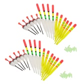 30pcs Fishing Floats w/ Rubbers Buoyancy Vertical Floater Assorted Shapes Colors Fishing Tackle Float Fishing