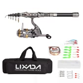 Lixada Telescopic Fishing Rod and Reel Combo Full Kit Spinning Fishing Reel Gear Organizer Pole Set with 100M Fishing Line Lures Hooks Jig Head and Fishing Carrier Bag Case Fishing Accessories
