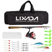 Lixada Carbon Fiber Telescopic Fishing Rod and Reel Combo Full Kit Spinning Fishing Reel Fishing Lure Gear Organizer Pole Set