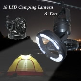 TOMSHOO 2-in-1 18 LED Camping Fan & Light Hanging Tent Lamp Lantern Outdoor Hiking Fishing Emergencies