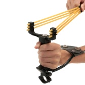 Outdoor Powerful Folding Wrist Brace Slingshot Catapult with Flashlight Clip