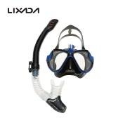 Lixada 大人用 ドライシュノーケル マスク 2点セット 強化ガラス ダイビングマスク+フルドライスノーケルチューブ 水中メガネに対応