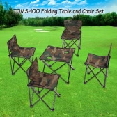 TOMSHOO Portable Outdoor Camping Picnic Fishing Folding Foldable Table and Chair Set Camouflage