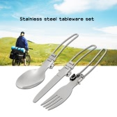 Outdoor Camping Hiking Travelling Picnic Portable Tableware Set Eco-friendly Stainless Steel Spoon Fork Knife with Storage Box