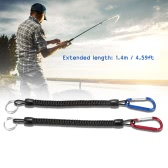 2pcs 1.4m Coiled Fish Missed Rope Fish Pole Rod Protector Elastic Rope Line Fishing Tackle Tool