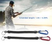 2 個のコイル状の 1.4 m 魚を逃したロープ魚棒ロッド プロテクター弾性ロープ ラインツールの釣具