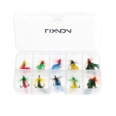 Lixada 10pcs Fly Fishing Lure Set Artificial Bait with Treble Hooks Carbon Steel Insect Fly Fishing Hooks