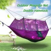 蚊帳ダブル ハンモック余分の強いナイロン丈夫なコンパクト軽量屋外キャンプのハンモック