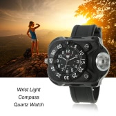 Multifunctional Rechargeable 200 Lumens Led Torch Wrist Light Water Resistant Watch Flashlight with Compass Tactical Flashlights for Outdoor Running Hiking Camping Biking Mountain Climbing