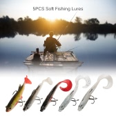 5Pcs Soft Lead Fish Set Kit 3D Eyes Soft Fishing Lures Baits with Tails and Treble Hooks