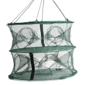 ​55 * 45cm Foldable Double Layer 12 Entrances Trap Fishing Lobster Fish Keep Cage Net Crayfish Net Mesh Cage