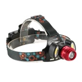 1500LM 3 LEDs Adjustable 90°Up-and-down Rotary Zoomable Head 4 Light Modes Hand-free Headlight Headlamp Flashlight for Trail Running Camping Caving Night Riding Tunnel Lighting Outdoor Adventure Multi-functional