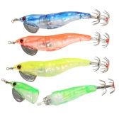 4PCS LED Shrimp Baits Squid Fishing Lure Baits Prawn Squid Lure Electronic Shrimp Lure Baits Fishing Accessories