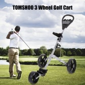 TOMSHOO Golf Cart Foldable 3 Wheels Push Cart Aluminum Pull Cart Trolley with Footbrake System Beverage Holder