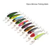 10pcs 9cm/8g Minnow Wobbler Fishing Baits Lures Hard Bait Swimbait Artificial Crankbait  Colorful