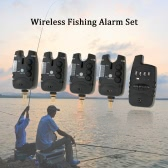 Lixada Wireless Fishing Alarm Set 4 Fishing Bite Alarms + 1 Receiver in Case LED Carp Fishing Alert